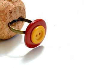 Red & Yellow Button Handmade Adjustable Ring