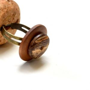 Brown Button Coconut Handmade Adjustable Ring