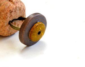 Yellow & Grey Coconut Bead Handmade Adjustable Ring