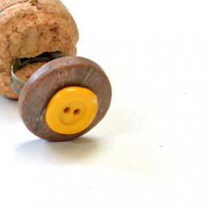 Yellow Top Button Coconut Bead Handmade Adjustable Ring