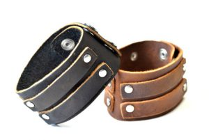leather cuff black brown bracelet present for him