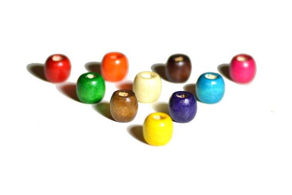 wooden coloured dreadlock beads