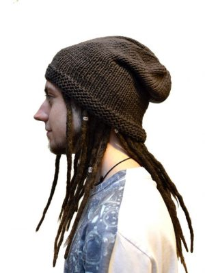 woollen beanie handmade brown dreadlock hat