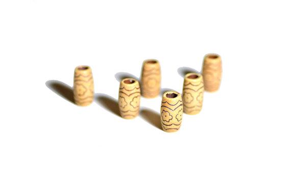 wooden flower dreadlock beads