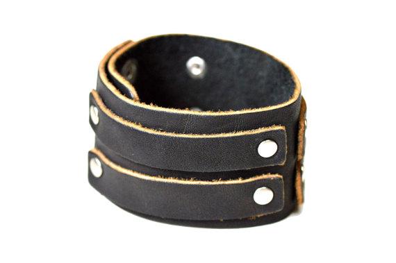 leather cuff black brown bracelet present for him