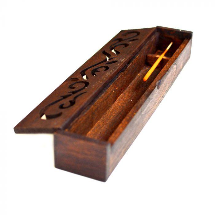 Dark wood incense stick holder