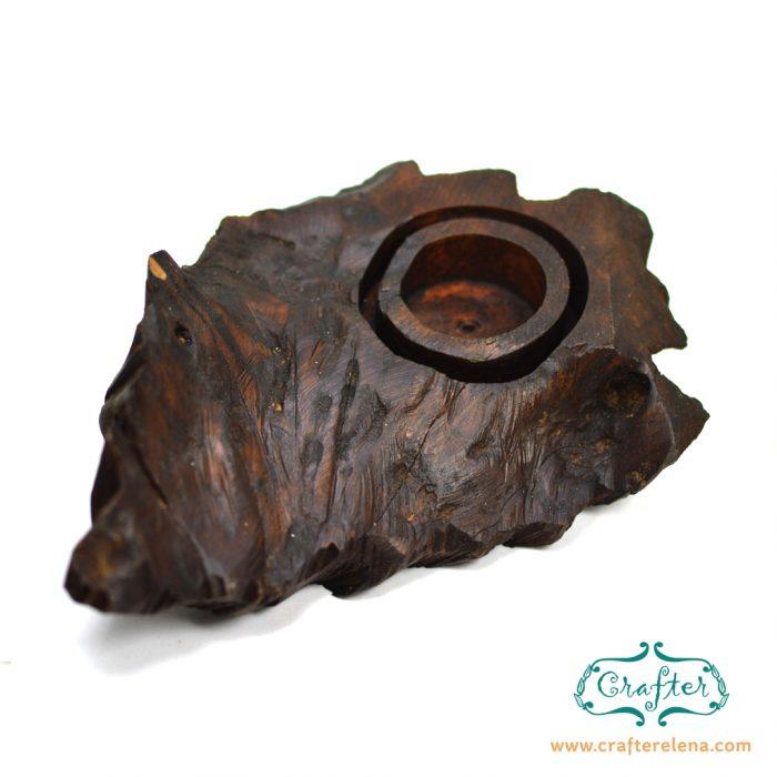 teak wood candle holder unqiue