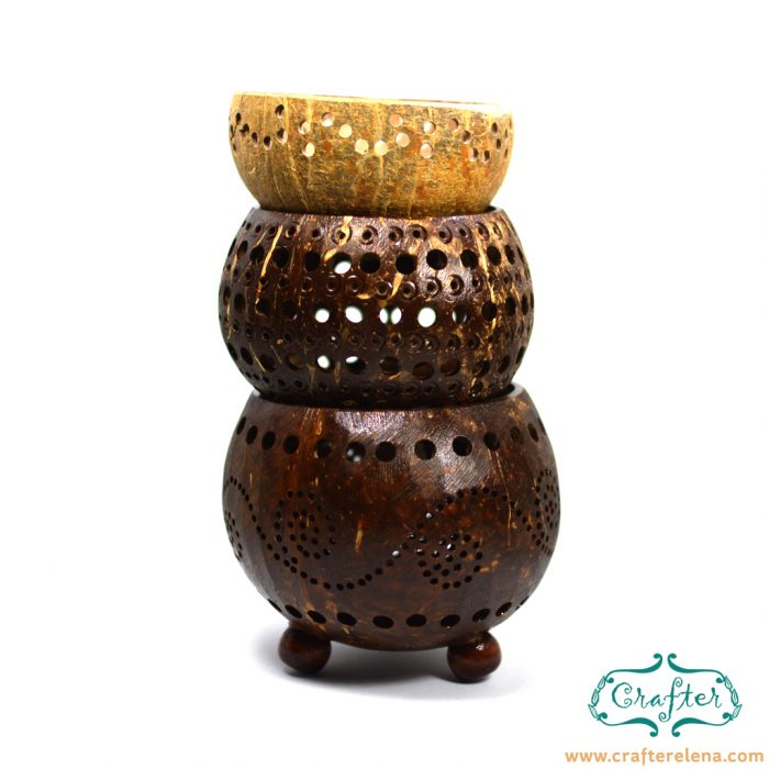 coconut candle holders natural
