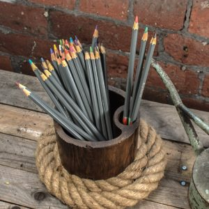 teak wood pencil pot