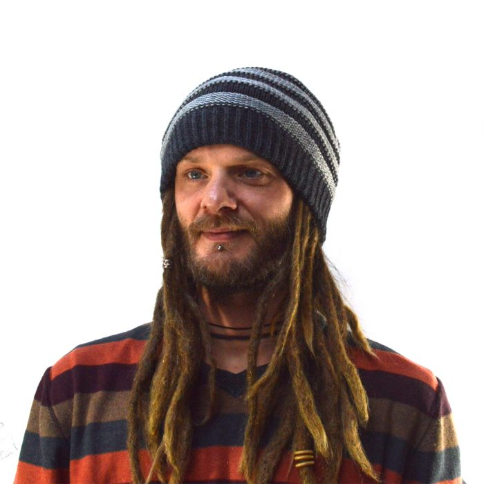 striped dreadlock beanie