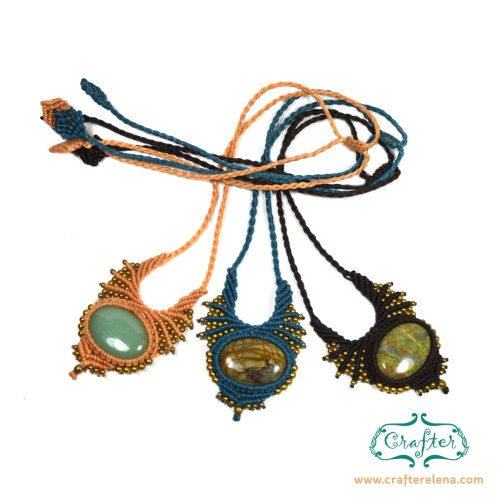 macrame necklace gemstones
