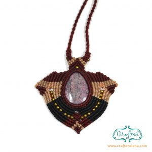 Accessories, amethyst necklace, crystal pendant, handmade jewellery, handmade necklace, ladies necklace, macrame necklace, macrame technique, neck accessories , precious stone, present for her, threaded gemstones, threaded necklace, Gemstone, women's accessories, purple jade, tumbled