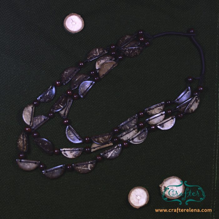 Jewellery, Necklace, Beaded, coconut, bead, beaded necklace, boho, bohemian, coconut beads, brown, semi circle, geometric, natural, eco friendly, elegant, mens, womens,