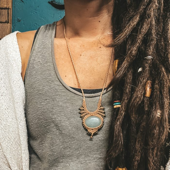 Peach macrame necklace Jade stone