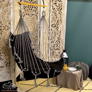 swing chair hammock black boho chair diamond carpet lifestyle