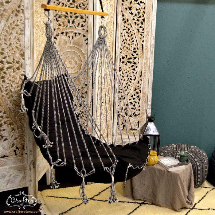 swing chair hammock black boho chair diamond carpet lifestyle