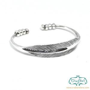 feather silver metal bracelet