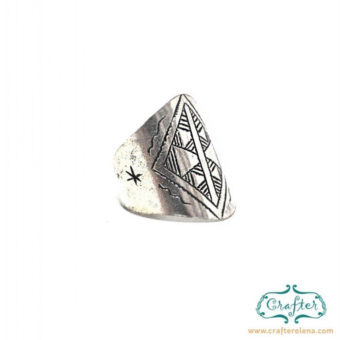 Tuareg Silver Geometric Ring
