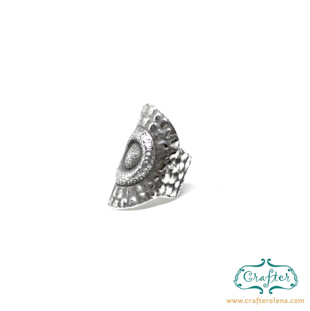 Sterling Silver Exotic Carved Sun Adjustable Forged Statement Ring