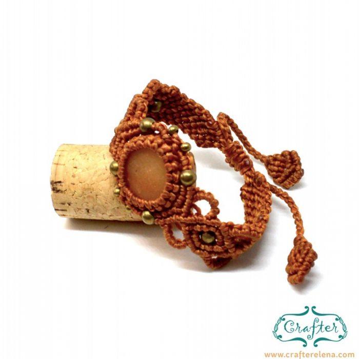 golden-quartz-macrame-bracelet-orange-handmade-hippie