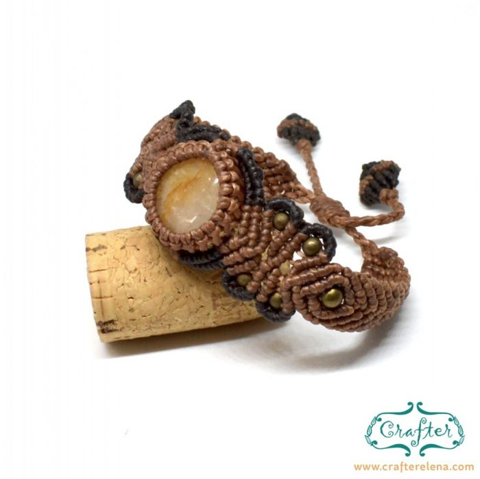 golden-quartz-macrame-bracelet-brown-handmade-hippie