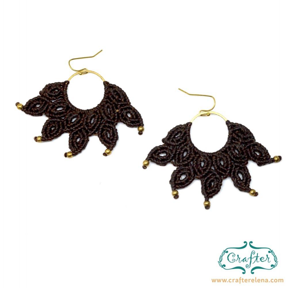 323d8ef68bee7 Fan Macrame Earrings Brown, Accessories, Dangle, Boho Hippie Jewellery
