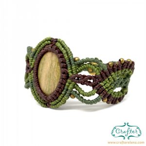 petrified-wood-macrame-bracelet-green-brown-handmade-hippie