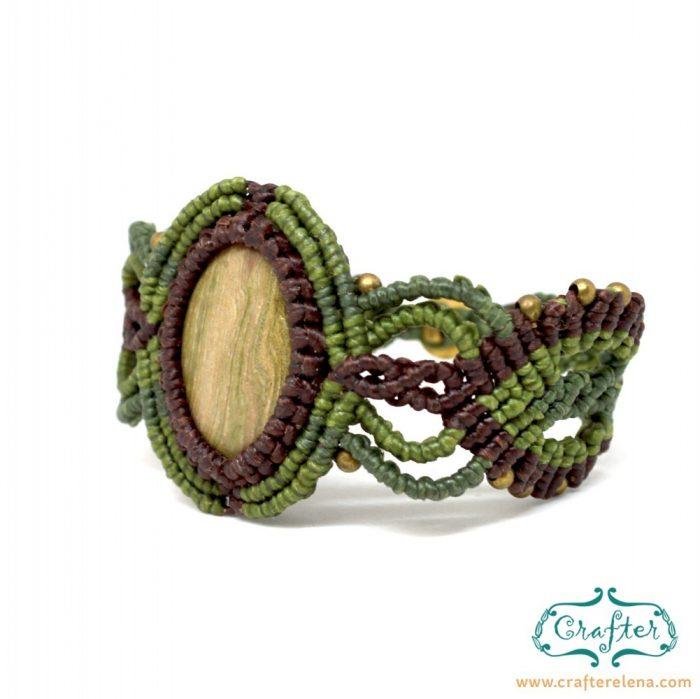 petrified-wood-macrame-bracelet-green-brown-handmade-hippie