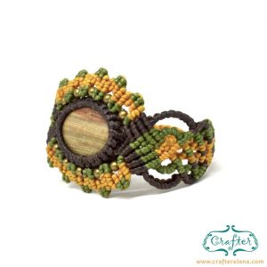 petrified-wood-macrame-bracelet-green-yellow-handmade-hippie