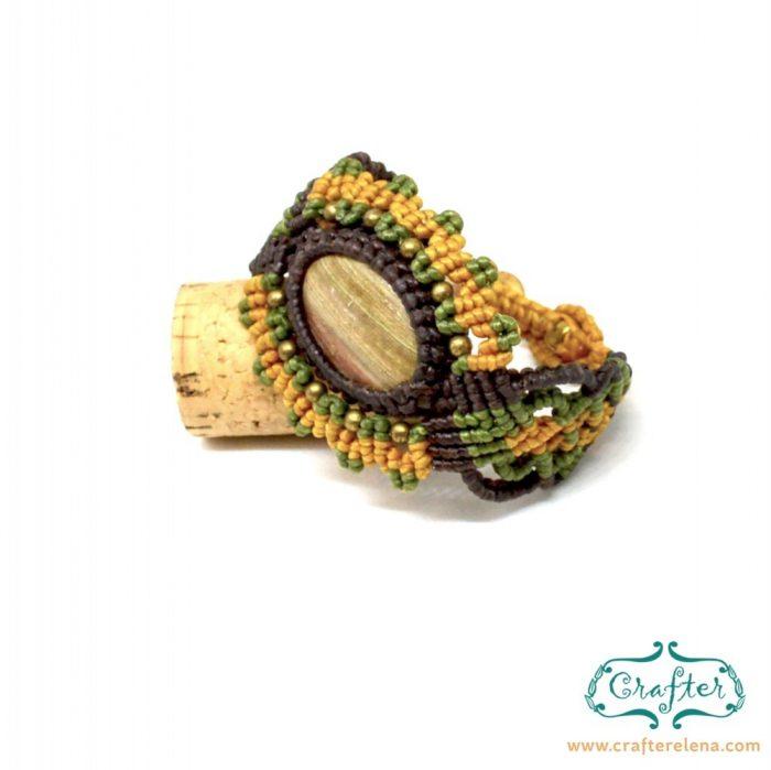 petrified-wood-macrame-bracelet-green-yellow-handmade-hippie
