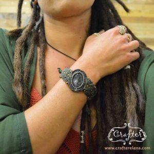 green macrame bracelet labradorite stone