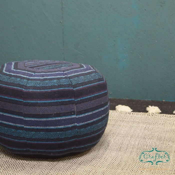 Blue Turquoise Teal Pouf