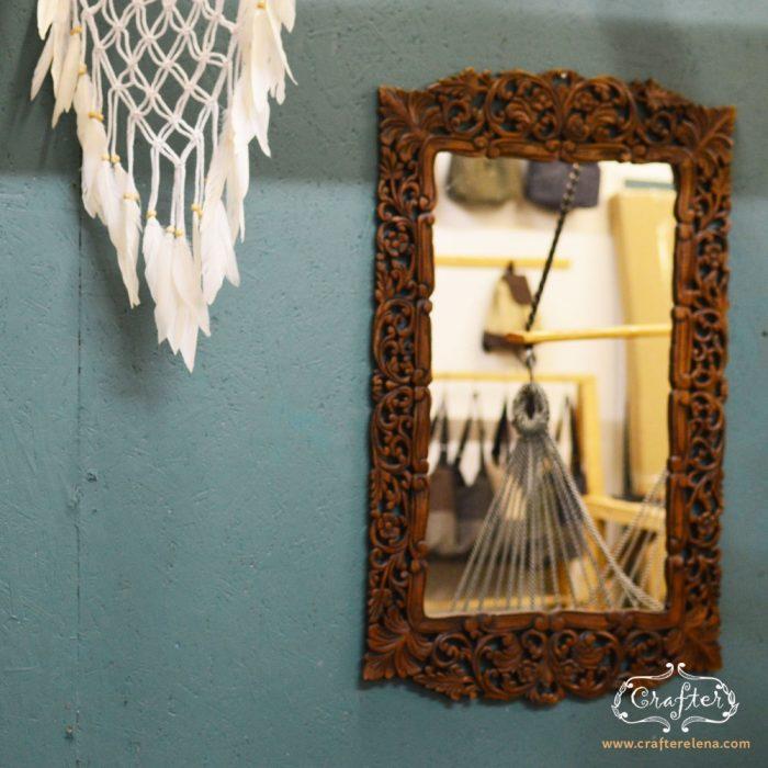wooden Mirror hand carved dark brown