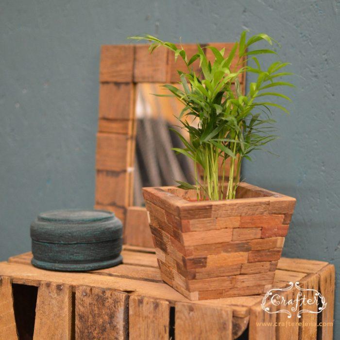 wooden block plant pot