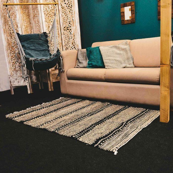 Moroccan Camel Wool Rug Kilim Black & White