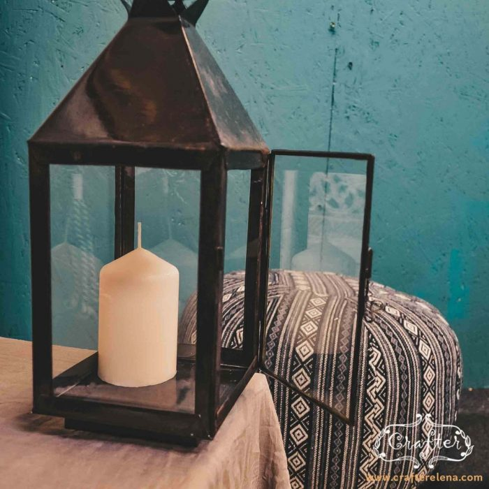 Black Lantern Moroccan Candle Holder Standing