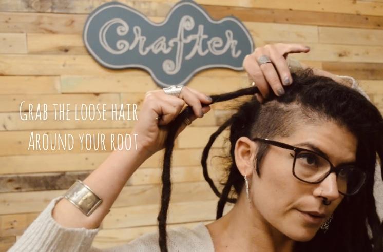 Dreadlock Root maintenance - Grab the loose hair around the root
