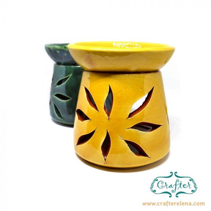 Oil Burner Ceramic yellow green sun carving