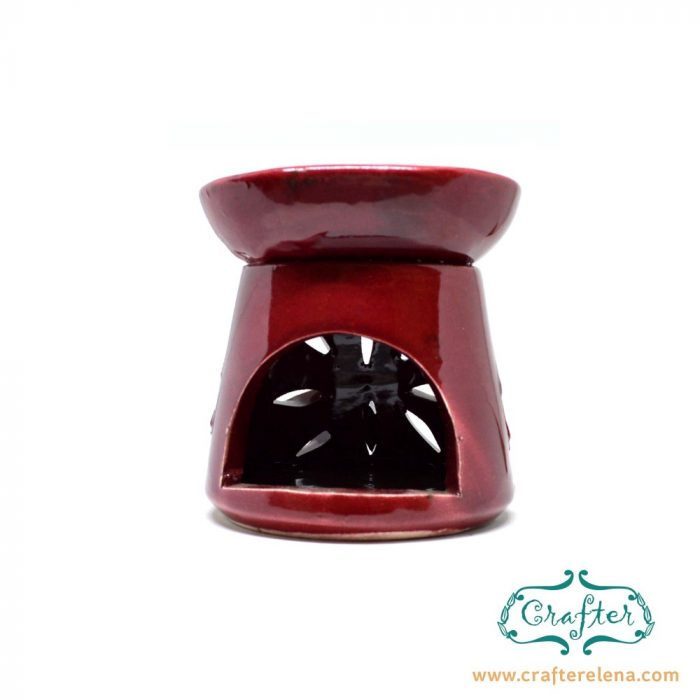 Oil Burner Ceramic red sun carving