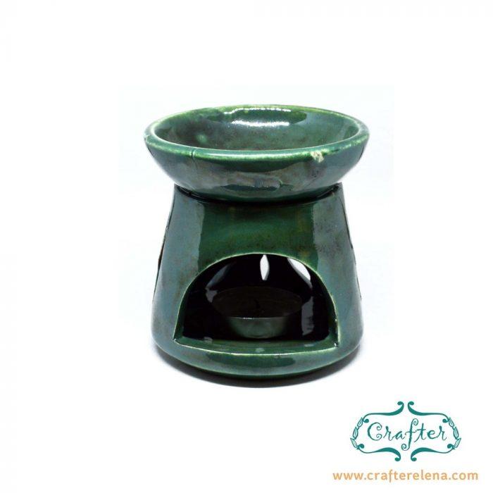 Oil Burner Ceramic green sun carving