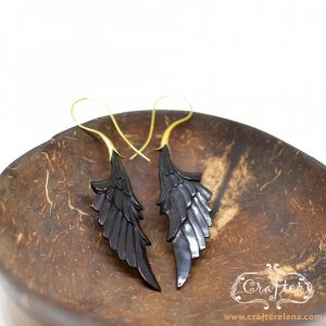 Black Angel Wing Earrings Buffalo Horn Brass