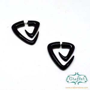 Horn Triangle Spiral Earrings Fake Gauge