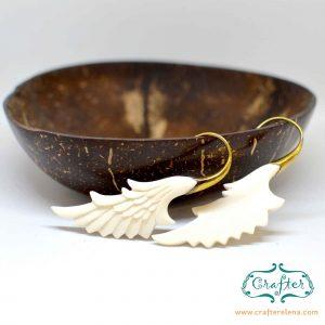 White Angel Wing Earrings Bone Brass White