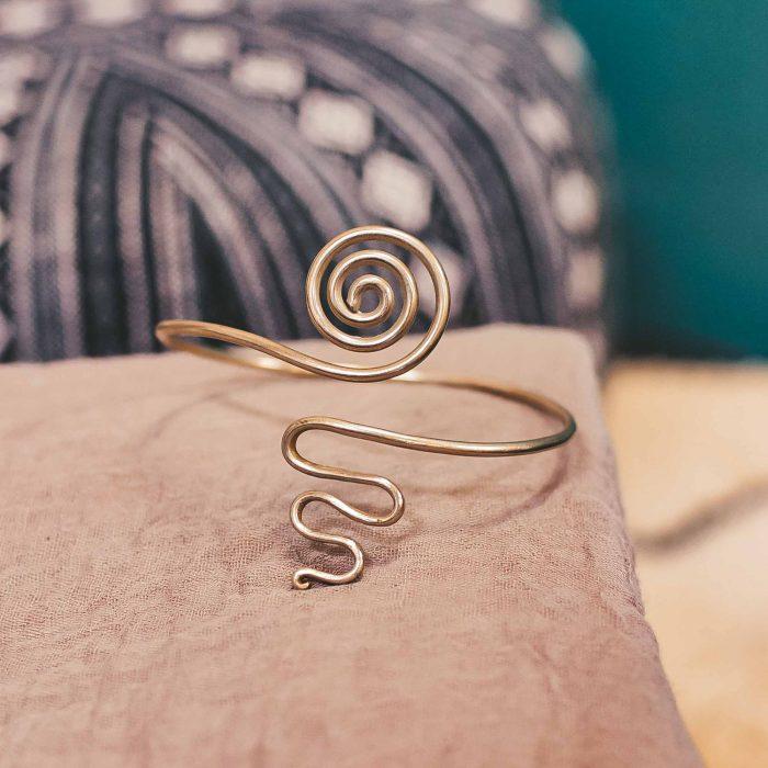 Arm Cuff Brass Spiral 3