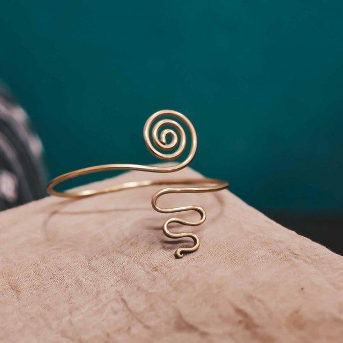 Arm Cuff Brass Spiral