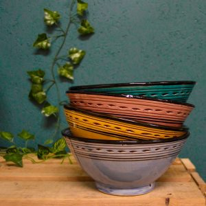 Moroccan Ceramic Bowls Snack Dip Colourful Ethnic Traditional Handcarved