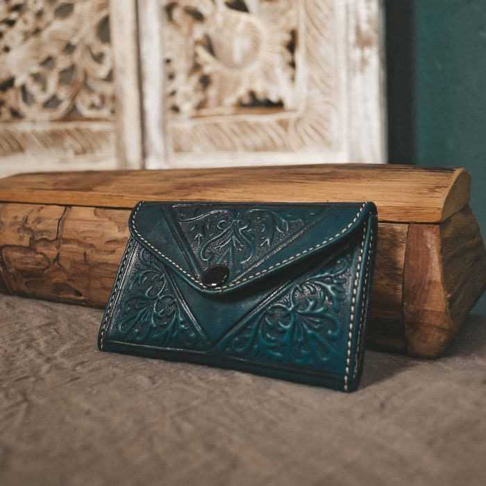 Green Leather Moroccan Wallet Small CrafterElena