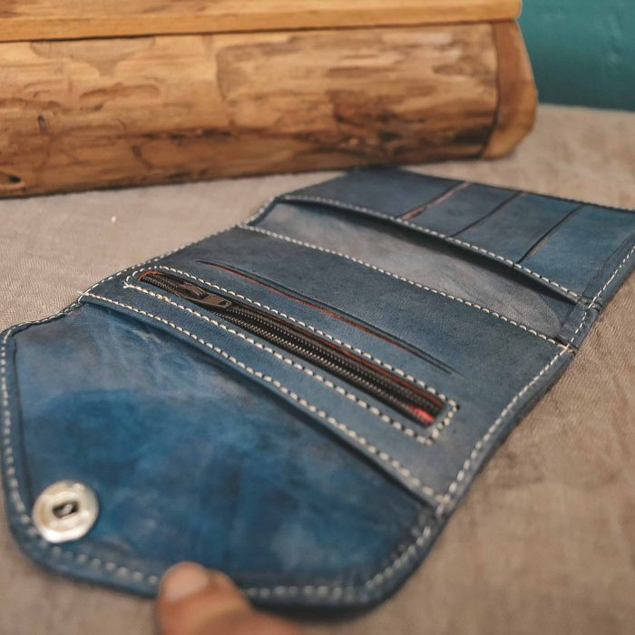 Blue Leather Moroccan Wallet Small CrafterElena