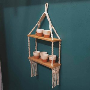 Macrame Shelving Unit Double Boho