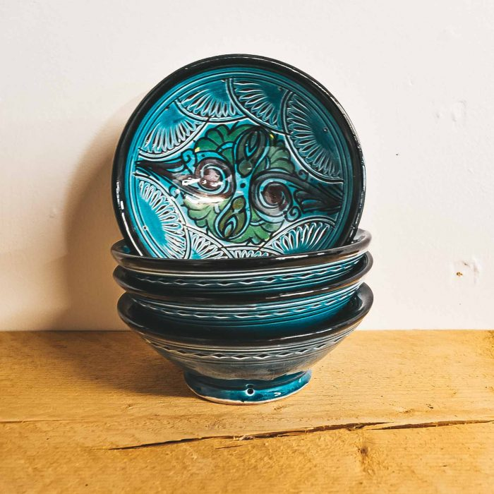 Moroccan Ceramic Bowls Colourful Small blue CrafterElena